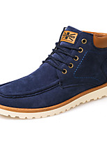 Men's Boots Fall Winter Comfort PU Casual Flat Heel Lace-up Black Blue Brown