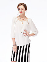 NAKED ZEBRA Women's Casual Street chic Autumn BlouseSolid Round Neck  Sleeve White / Black Polyester