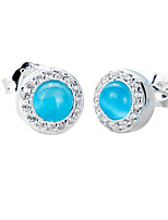 SILVERAGE 925 Sterling Silver Blue Stone AAA CZ Round Stud Earrings 2016 New