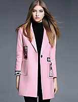 Women's Casual/Daily Simple Coat,Print Long Sleeve Pink Wool / Acrylic / Polyester
