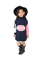 Girl Casual/Daily Solid Dress,Faux Fur / Cotton Winter / Spring / Fall Long Sleeve