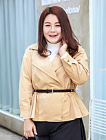 MsShe Women's Plus Size / Casual/Daily / Work Simple Trench CoatSolid V Neck Long Sleeve Winter Brown Polyester Medium