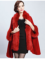 Women's Casual/Daily Simple Regular Cloak / Capes,Solid Red / Black / Purple Collarless 3/4 Length Sleeve Faux Fur Fall / Winter Medium