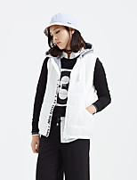 Metersbonwe Women's Regular Padded CoatStreet chic Casual/Daily Solid-Polyester Polypropylene Sleeveless Hooded Beige