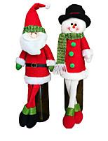 2 set sacos cute sweater tampa garrafa de vinho tinto roupa de Papai decoração de mesa de jantar Noel com decorações chapéus de festa em