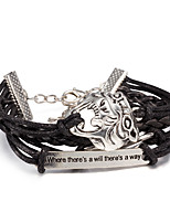 Men's Women's Wrap Bracelet Leather Bracelet Punk Multi Layer Leather Alloy Animal Shape Jewelry For Casual Stage Street Club