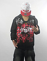 Men's Casual/Daily Simple Regular Hoodies,Print Red / Black Hooded Long Sleeve Cotton Fall / Winter Medium Micro-elastic