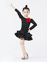 Latin Dance Dresses Children's Performance Chinlon / Spandex / Polyester Flower / Ruched / Splicing 1 Piece Long Sleeve Natural Dress