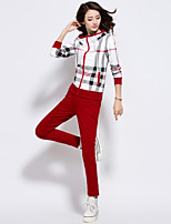 Women's Casual/Daily / Plus Size Simple Fall Pant Suits,Striped Hooded Long Sleeve Blue / Red / Brown / Gray Cotton Medium