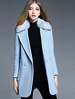 Women's Casual/Daily Simple Coat,Solid Long Sleeve Fall Blue Polyester