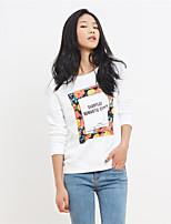 Normal Pullover Femme Décontracté / Quotidien Chic de Rue,Imprimé Blanc Col Arrondi Manches Longues Coton Automne Moyen Non Elastique