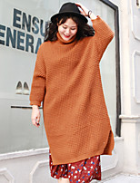 Women's Casual/Daily Simple Long Pullover,Solid Black Orange Turtleneck Long Sleeve Wool Acrylic Winter Medium Inelastic