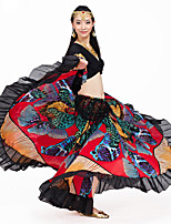 Belly Dance Outfits Performance Crystal Cotton Ruffles 2 Pieces 3/4 Length Sleeve Dropped Top / Skirt