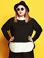 JAZZ  Women's Plus Size / Casual/Daily Simple Fall / Winter T-shirtPatchwork Stand Long Sleeve BlackCotton / Polyester / Nylon / Spandex /