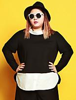 Tee-shirt Femme,Mosaïque Décontracté / Quotidien / Grandes Tailles simple Automne / Hiver Manches Longues Mao NoirCoton / Polyester /