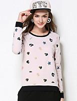 Tee-shirt Femme,Imprimé Décontracté / Quotidien / Grandes Tailles simple Automne Manches Longues Col Arrondi Rose Coton / Spandex Moyen