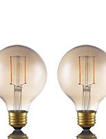 2W E26 Lâmpadas de Filamento de LED G80 2 COB 180 lm Âmbar Regulável AC 110-130 V 2 pçs