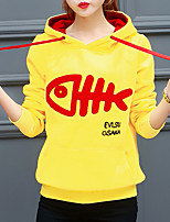 Women's Going out Active Regular Hoodies,Embroidered Red / Black / Yellow Hooded Long Sleeve Polyester Fall / Winter Medium Micro-elastic