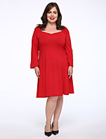 Women's Casual/Daily / Plus Size Simple T Shirt Dress,Solid Round Neck Knee-length Red Cotton Fall Mid Rise Micro-elastic Medium