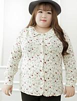 Chemise Femme,Fleur Décontracté / Quotidien / Grandes Tailles Chinoiserie Automne Manches Longues Col de Chemise Blanc Polyester