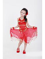 Belly Dance Outfits Performance Chiffon Sequins 5 Pieces Sleeveless Dropped Top / Skirt / Bracelets / Headpieces