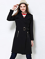MEIDONGTAI Women's Plus Size / Casual/Daily Simple Trench CoatSolid Notch Lapel Long Sleeve Winter Black Polyester / Spandex Thick