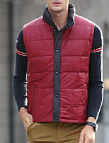 Men's Padded Coat,Simple Plus Size / Casual/Daily Solid-Polyester White Duck Down Sleeveless Blue / Red