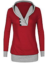 Women's Going out Active Regular Hoodies,Solid Blue / Red / Black / Gray Hooded Long Sleeve Cotton / Polyester Fall Medium Micro-elastic