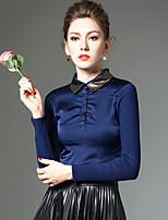 Tee-shirt Femme,Mosaïque Travail / Grandes Tailles simple / Chic de Rue Hiver Manches Longues Col de Chemise Bleu / NoirPolyester / Nylon