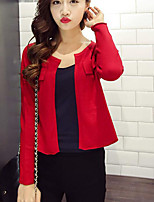 Women's Casual/Daily Cute Short Cardigan,Solid Red / Black / Gray Round Neck Long Sleeve Wool Spring Thin Micro-elastic