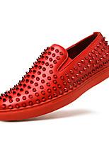 Черный Красный Синий-Для мужчин-Для прогулок Повседневный Для занятий спортом-Кожа-На плоской подошве-Удобная обувь-Мокасины и Свитер