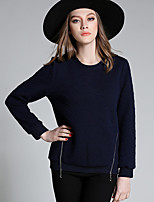Women's Casual/Daily Plus Size Simple Regular Pullover,Solid Blue Round Neck Long Sleeve Polyester Fall Medium Micro-elastic
