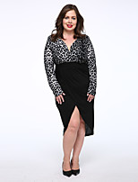 Women's Plus Size / Casual/Daily Simple Trumpet/Mermaid Dress,Solid Round Neck Midi Long Sleeve Black Cotton Fall Mid Rise Micro-elastic
