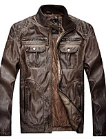 Men's Plus Size / Casual/Daily Simple Leather Jackets,Solid Long Sleeve Black / Brown PU