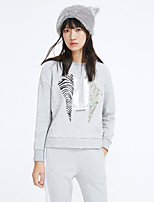 Metersbonwe Women's Casual/Daily Street chic Regular HoodiesPrint Gray Hooded Long Sleeve Polyester Winter Medium Inelastic