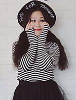 Tee-shirt Femme,Rayé Décontracté / Quotidien / Grandes Tailles simple Automne / Hiver Manches Longues Col Roulé Blanc Polyester / Nylon
