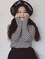 Nininiu Women's Plus Size / Casual/Daily Simple Fall / Winter T-shirtStriped Turtleneck Long Sleeve White Polyester / Nylon