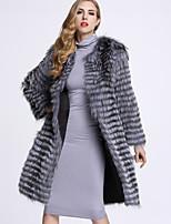 Женский На каждый день Однотонный Пальто с мехом Круглый вырез,Изысканный Зима Серый Длинный рукав,Лисий Мех