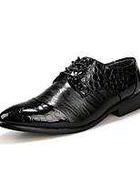 Черный-Мужской-На каждый день-Полиуретан-На плоской подошве-Удобная обувь-Туфли на шнуровке