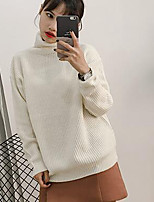 Women's Casual/Daily Simple Long Pullover,Solid Pink Red White Gray Green Yellow Turtleneck Long Sleeve Acrylic Fall Winter Medium