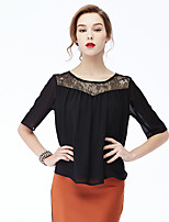 NAKED ZEBRA Women's Casual Street chic Autumn BlouseSolid Round Neck  Length Sleeve White / Black Polyester