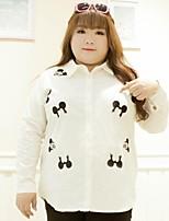 Chemise Femme,Imprimé Décontracté / Quotidien / Grandes Tailles simple Automne Manches Longues Col de Chemise Blanc Coton