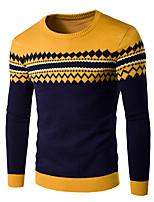 Herren Standard Pullover-Lässig/Alltäglich Einfach Solide Punkt Gestreift Blau Rot Grau Rundhalsausschnitt Langarm Baumwolle Acryl Winter