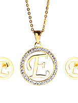 Kalen New Design Stainless Steel 18K Gold Plated Capital Letter E Pendant Necklace And Earrings Jewelry Sets For Women