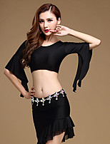 Belly Dance Outfits Women's Training Polyester / Spandex Irregular 2 Piece Solid Half Sleeve Round Neck Dance Costumes