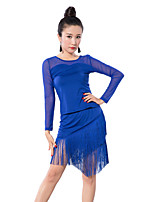 Latin Dance Outfits Women's Training Tulle / Milk Fiber Tassel(s) 2 Pieces Black / Blue/Red Latin Dance Long Sleeve
