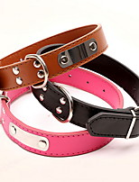 Dog Collar Adjustable/Retractable Solid Red / Black / Blue / Brown / Pink PU Leather