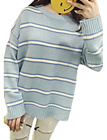Women's Casual/Daily Simple Regular Pullover,Striped Blue / Pink Round Neck Long Sleeve Cotton Spring / Fall Medium
