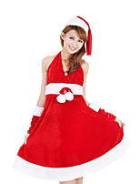 Cosplay Costumes Santa Suits Movie Cosplay Red Solid Dress / Hats Christmas Female Polyester