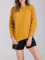 Women's Casual/Daily Simple Regular Pullover,Solid Yellow Round Neck Long Sleeve Polyester Fall / Winter Medium Stretchy